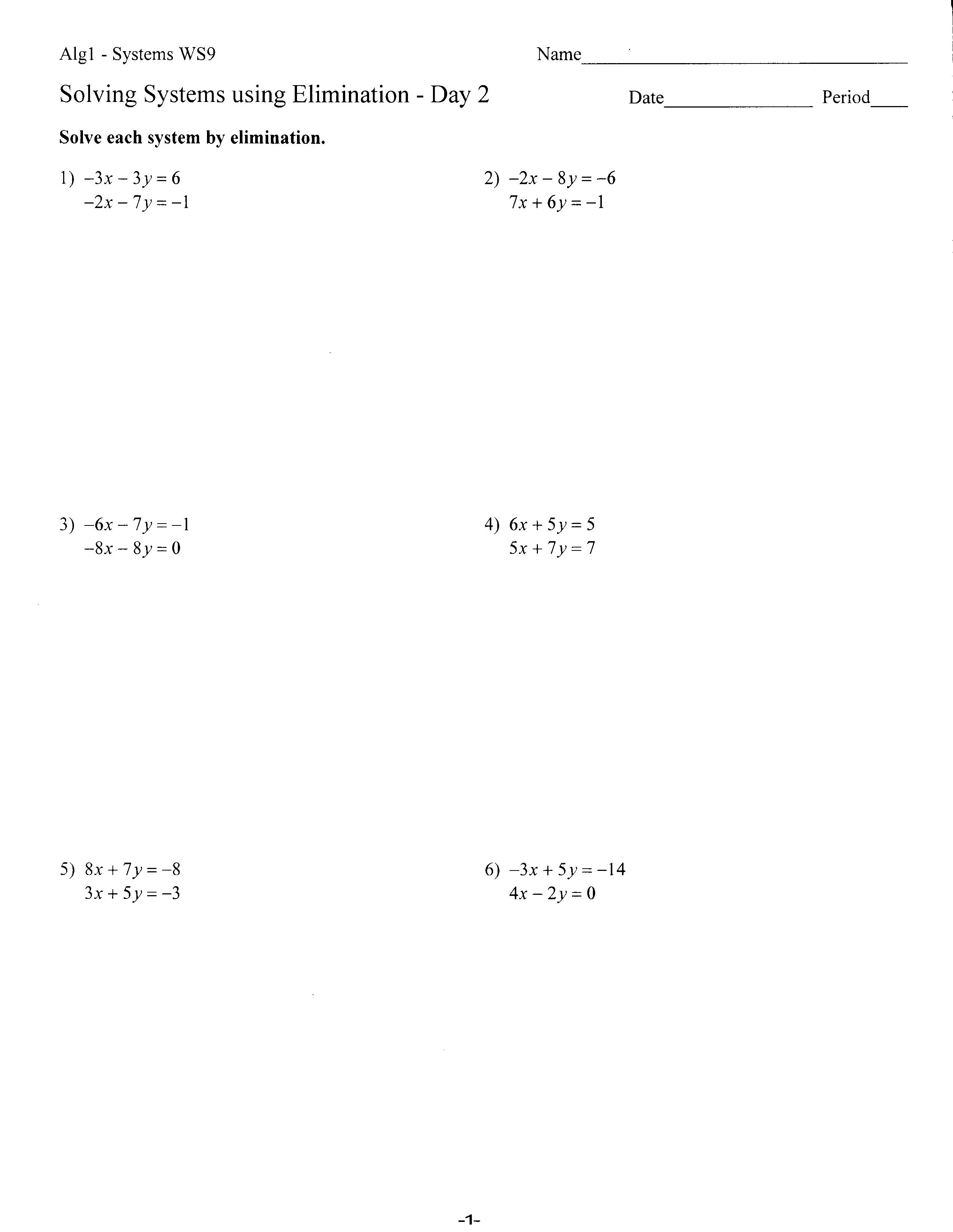 Worksheets  Mrs Lay's Webpage 201112 With Solving Systems By Elimination Worksheet