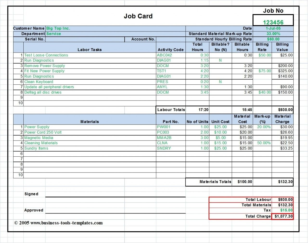 Workshop Job Card Template Excel, Labor & Material Cost Estimator ... With Regard To Labor And Material Cost Spreadsheet