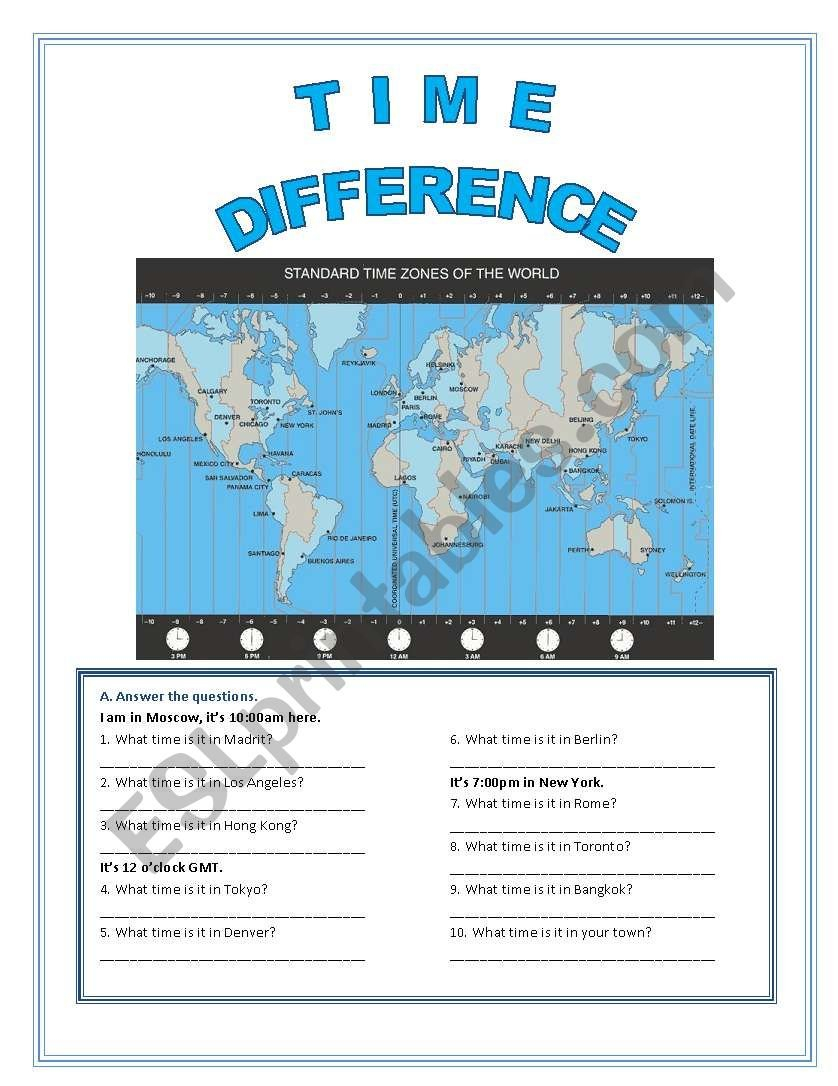 World Time Zones  Esl Worksheetfenixgirl With Regard To Time Zone Worksheet