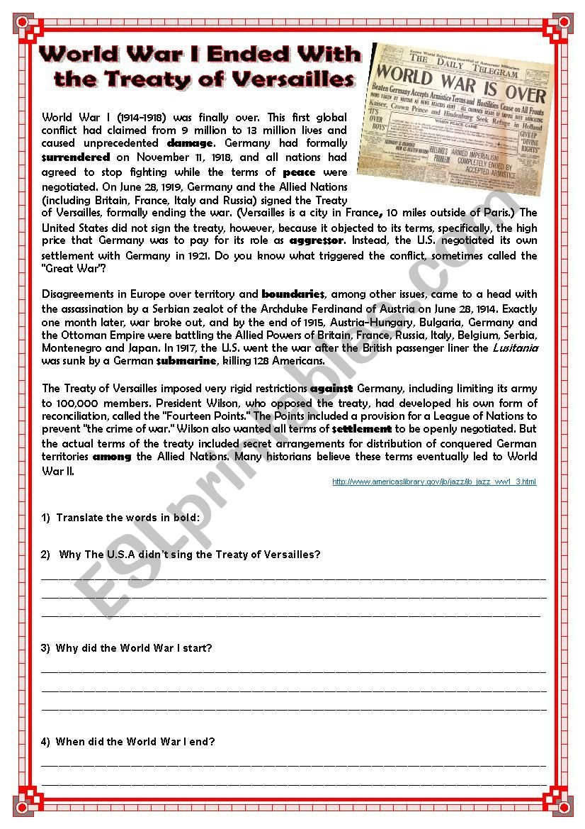 World War I Ended With The Treaty Of Versailles  Esl Worksheet In The Treaty Of Versailles Worksheet Answers