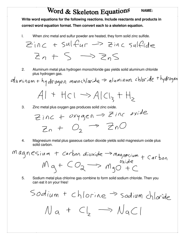 Write Word Equations For The Following Reactions Include Reactants As Well As Word Equations Worksheet