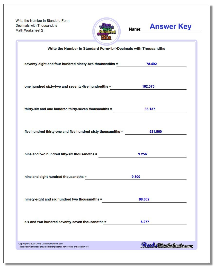 Write Word From In Standard Form With Standard Form Worksheet