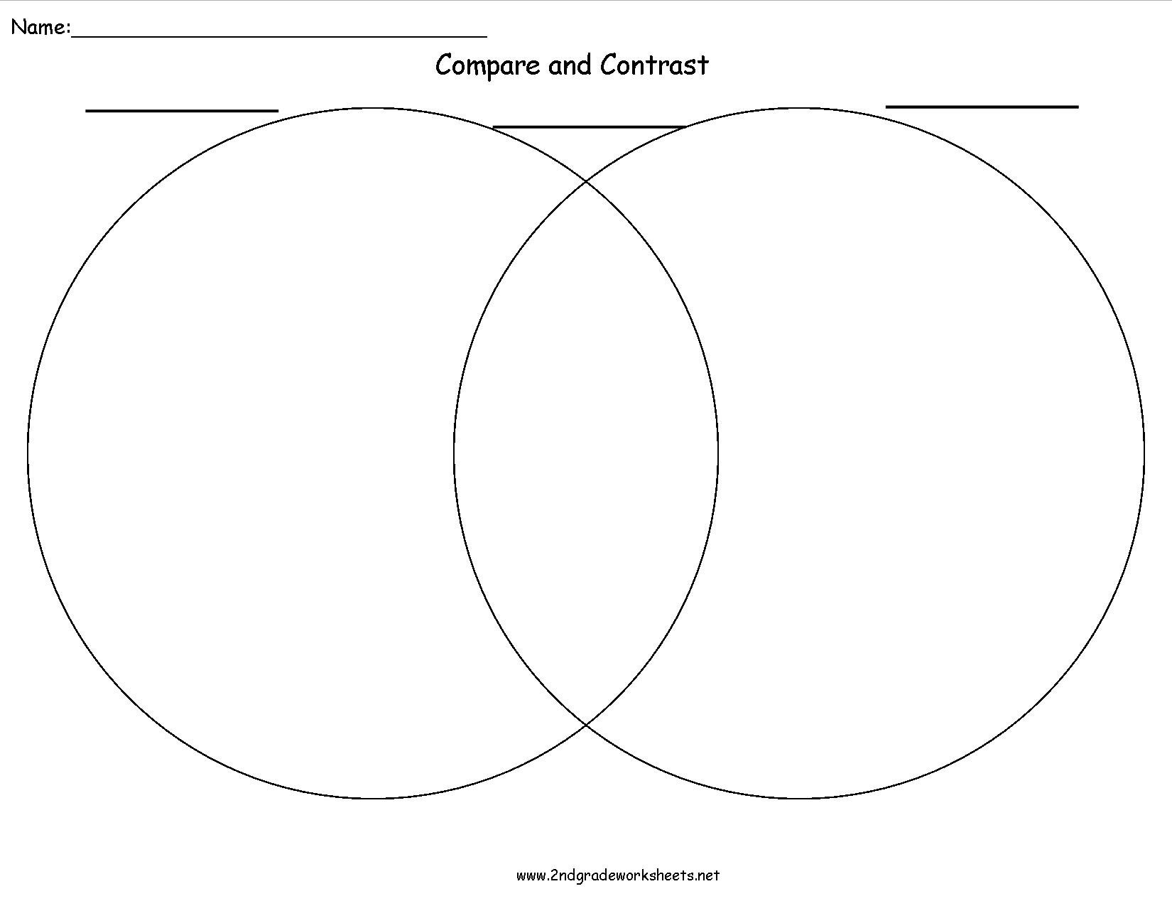 Writing Organizers Worksheets Within Compare And Contrast Worksheets 2Nd Grade