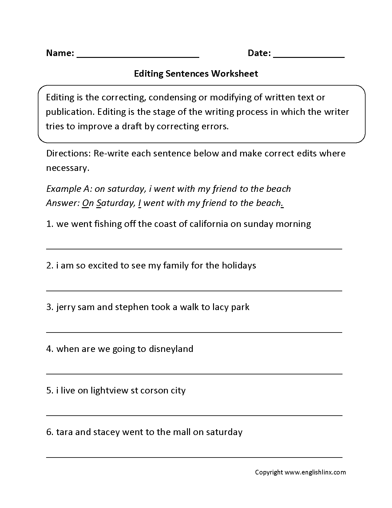 Writing Worksheets  Editing Worksheets Intended For Proofreading And Editing Worksheets Grade 6