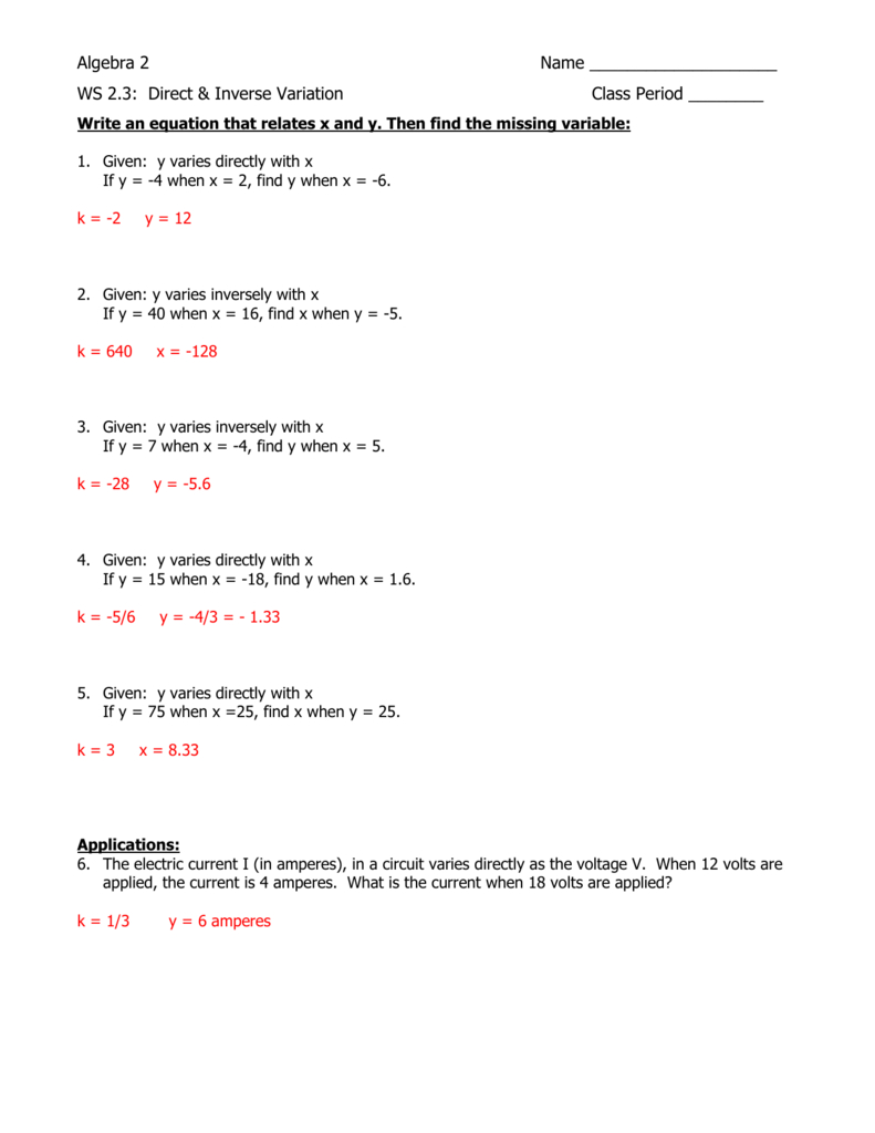 Ws 23 Answer Key In Direct Variation Worksheet