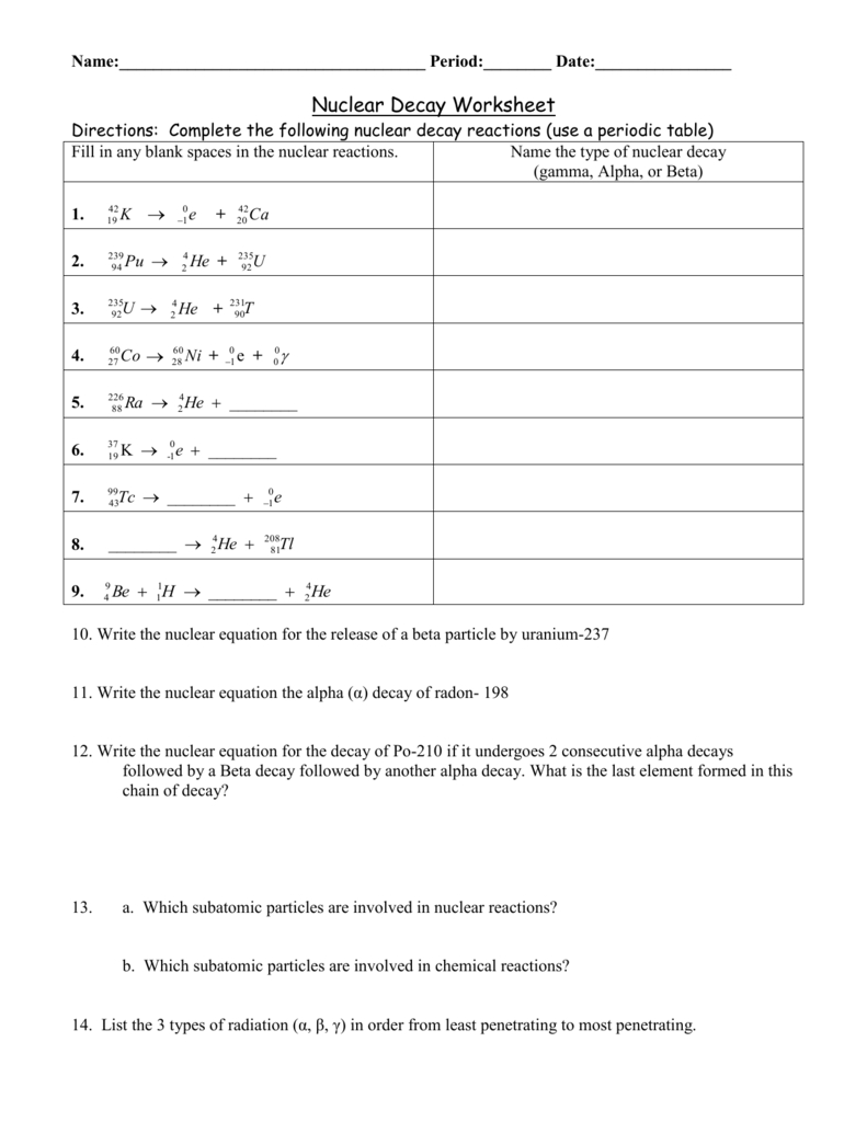 Ws Nuclear Decay As Well As Nuclear Chemistry Worksheet K Answer Key