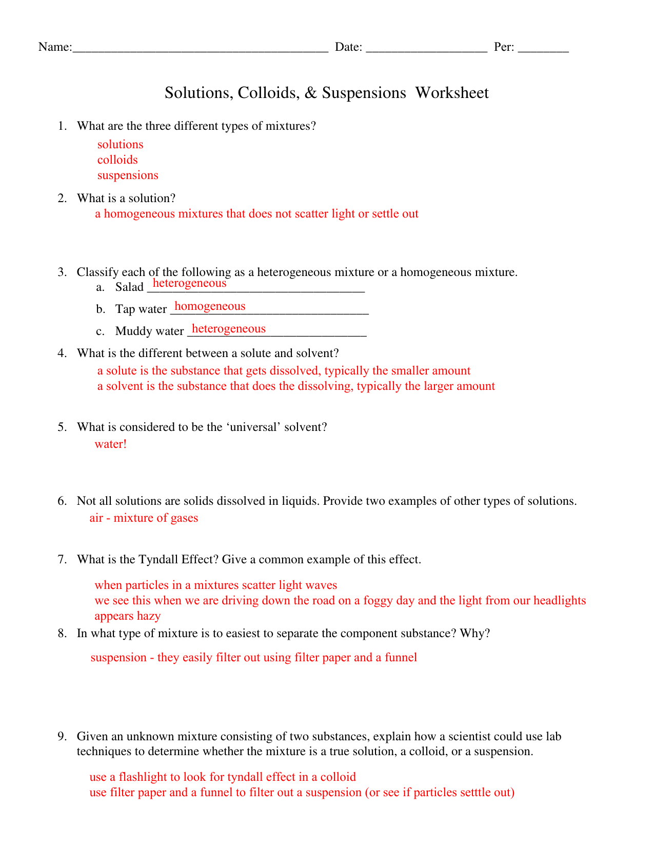 Wsoltution Colloid Suspension Key With Solutions Colloids And Suspensions Worksheet