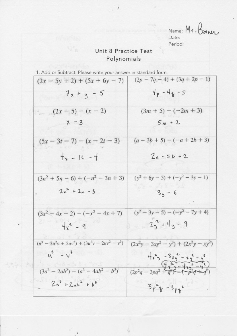 Yesterday's Work Units 7  8  Have A Problem Use Math To Solve It In Unit 2 Worksheet 8 Factoring Polynomials Answer Key
