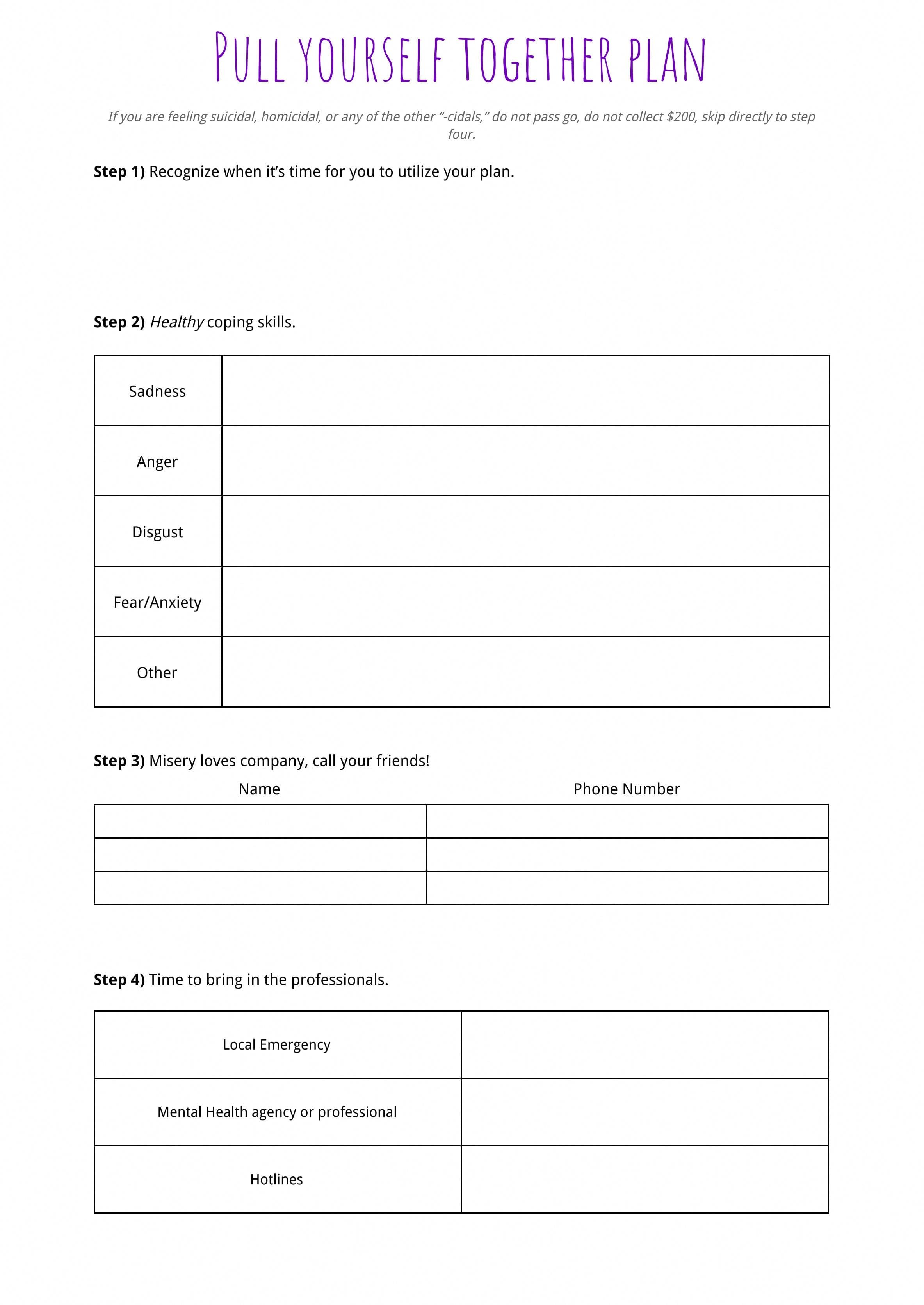 009 Plan Templates Mental Health Crisis Template Amazing Together With Crisis Prevention Plan Worksheet