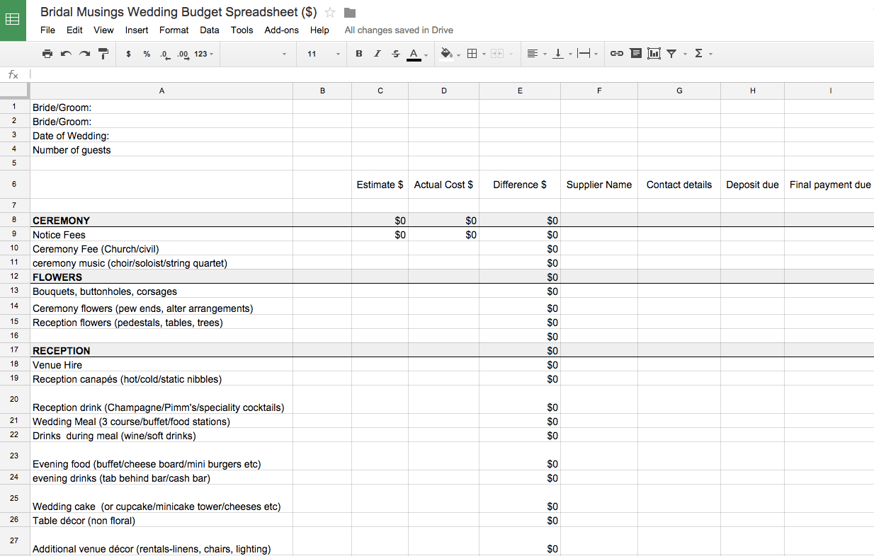 010 Plan Templates Wedding Budget Worksheet Template Bridal Musings In Wedding Budget Worksheet