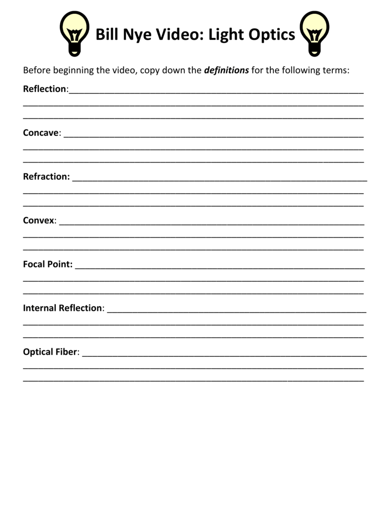 04 Bill Nye Light Optics Video Worksheet Regarding Bill Nye Light Optics Worksheet Answers
