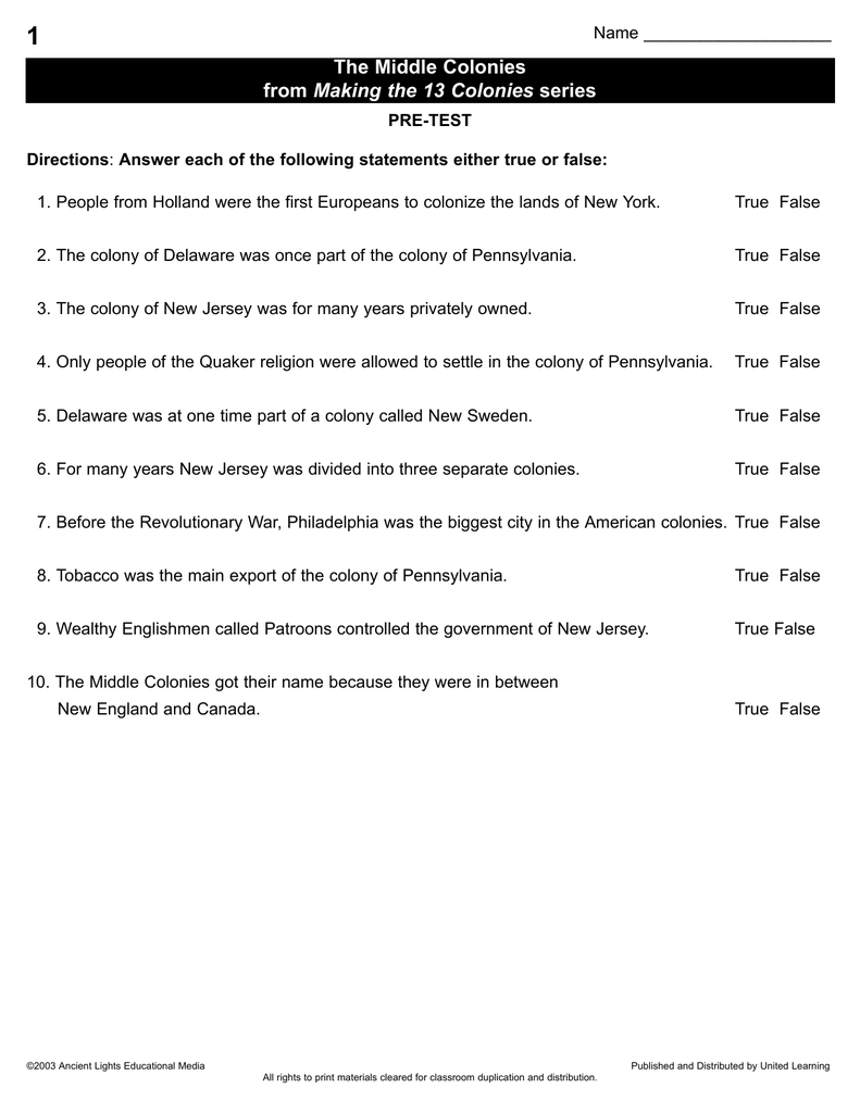 1 The Middle Colonies Making The 13 Colonies As Well As The Carolina Charter Of 1663 Worksheet Answers