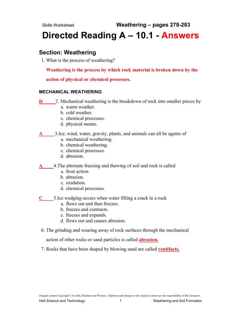 10 1 Directed Reading Answer Key For Skills Worksheet Directed Reading A Answer Key
