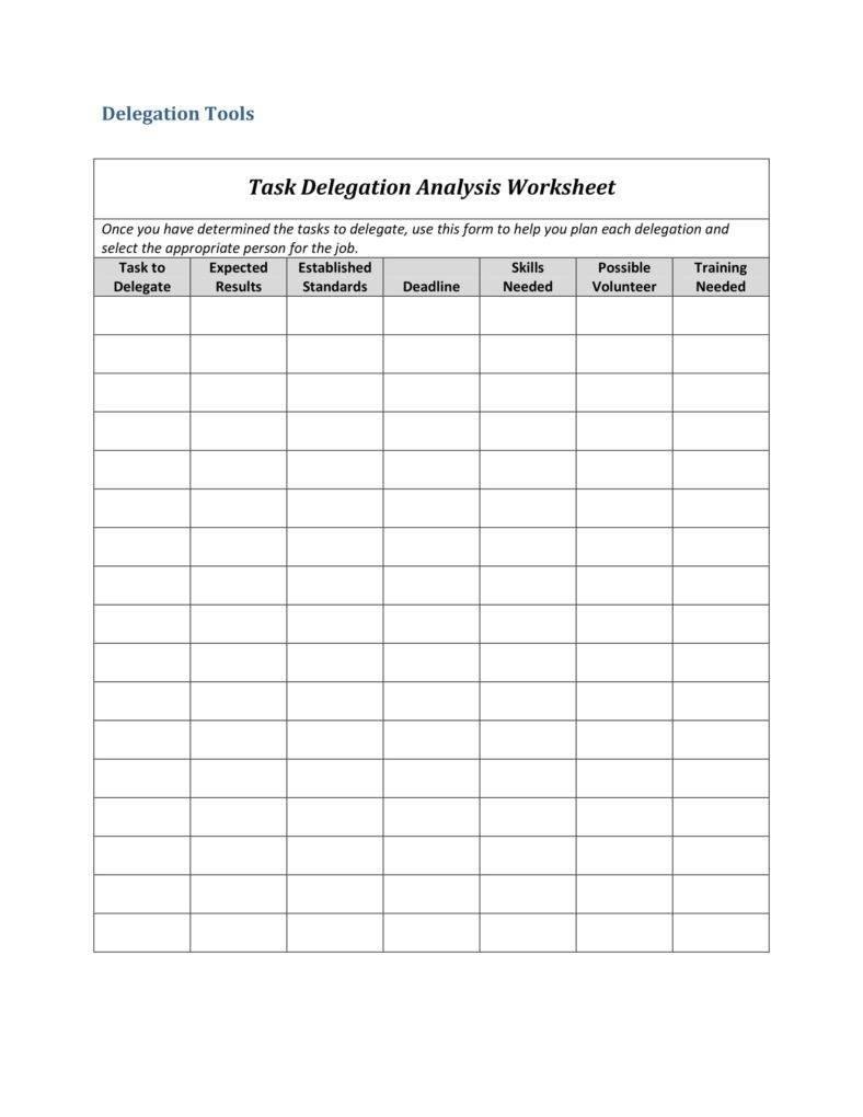 10 Delegation Worksheet Templates  Pdf  Free  Premium Templates As Well As Task Worksheet Template