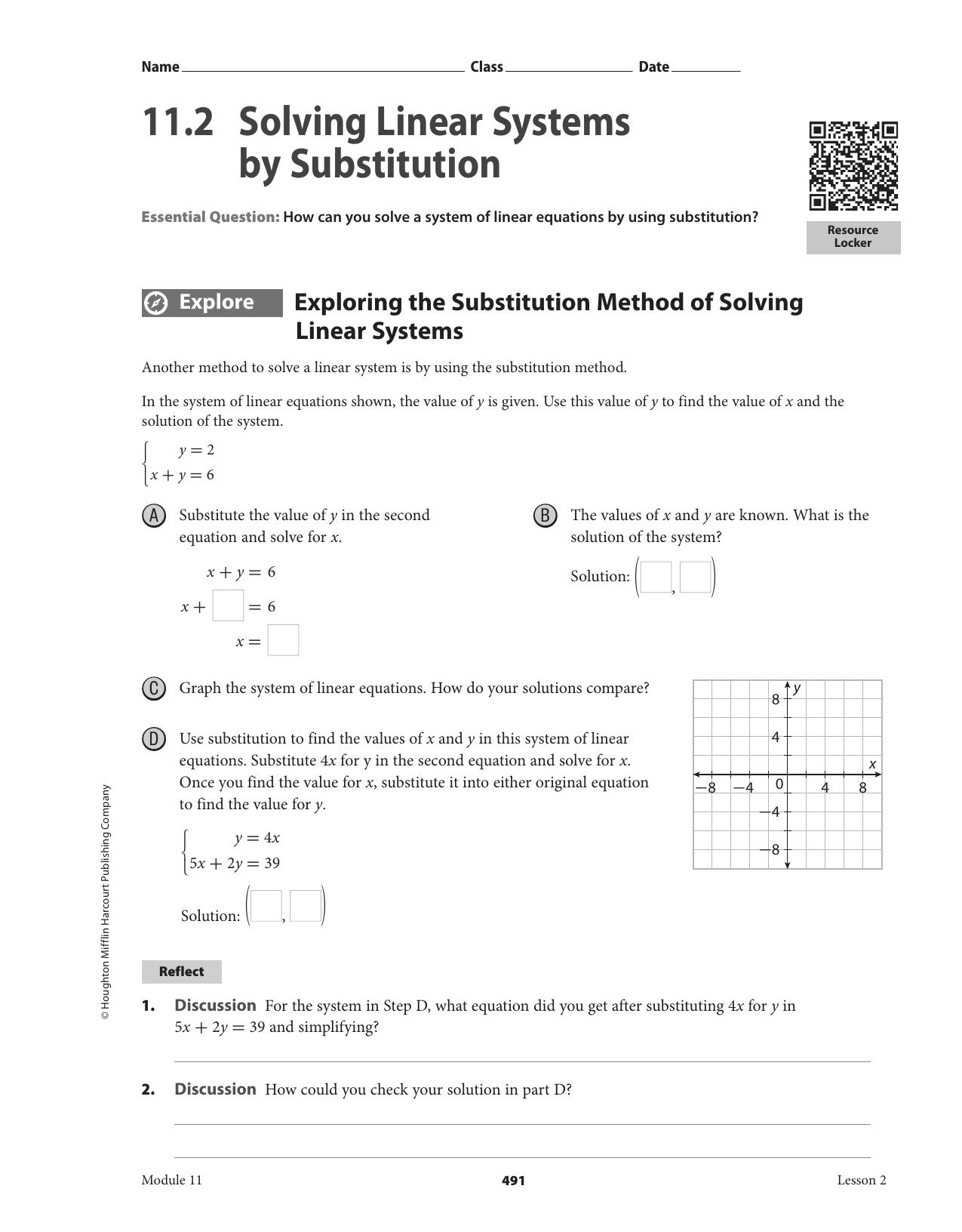 112 Solving Linear Systemssubstitution Intended For Substitution Method Worksheet Answer Key