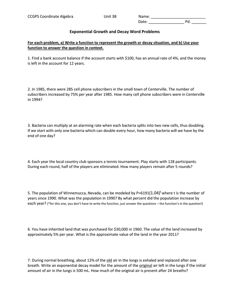 112213 Application Problems Extra Practice Inside Exponential Growth And Decay Word Problems Worksheet Answers