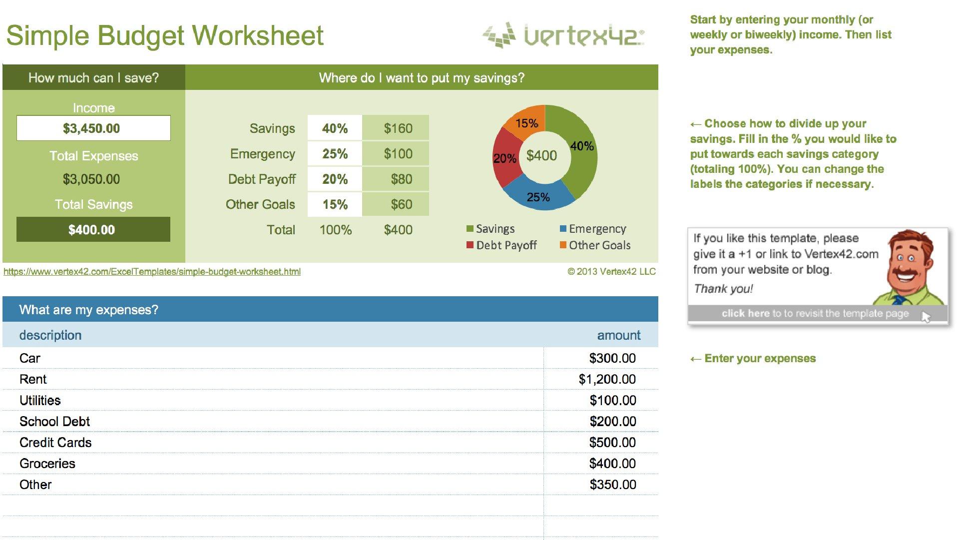 14 Easytouse Free Budget Templates  Gobankingrates Within Easy Budget Worksheet