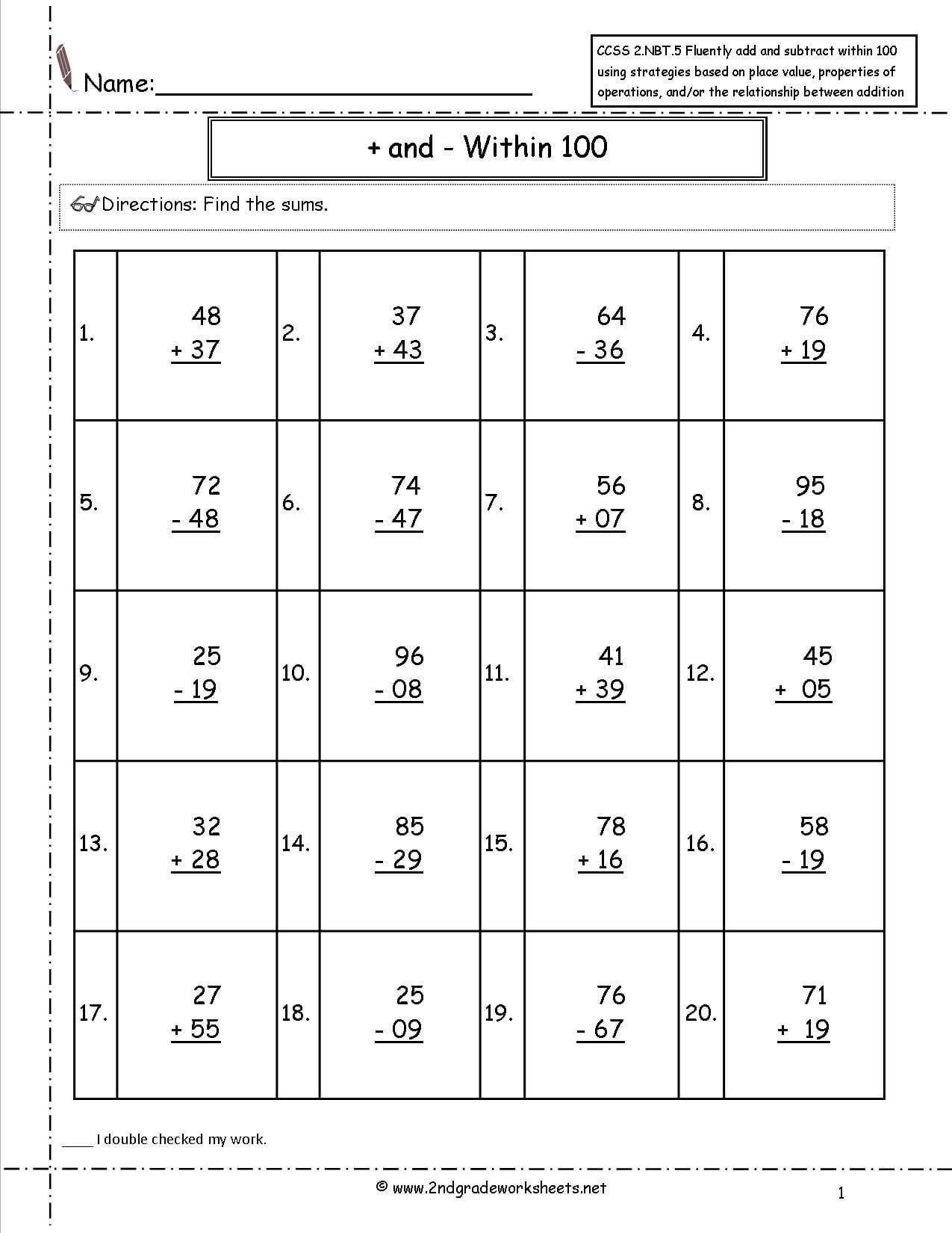 2Nd Grade Math Common Core State Standards Worksheets Inside Seventh Grade Common Core Math Worksheets
