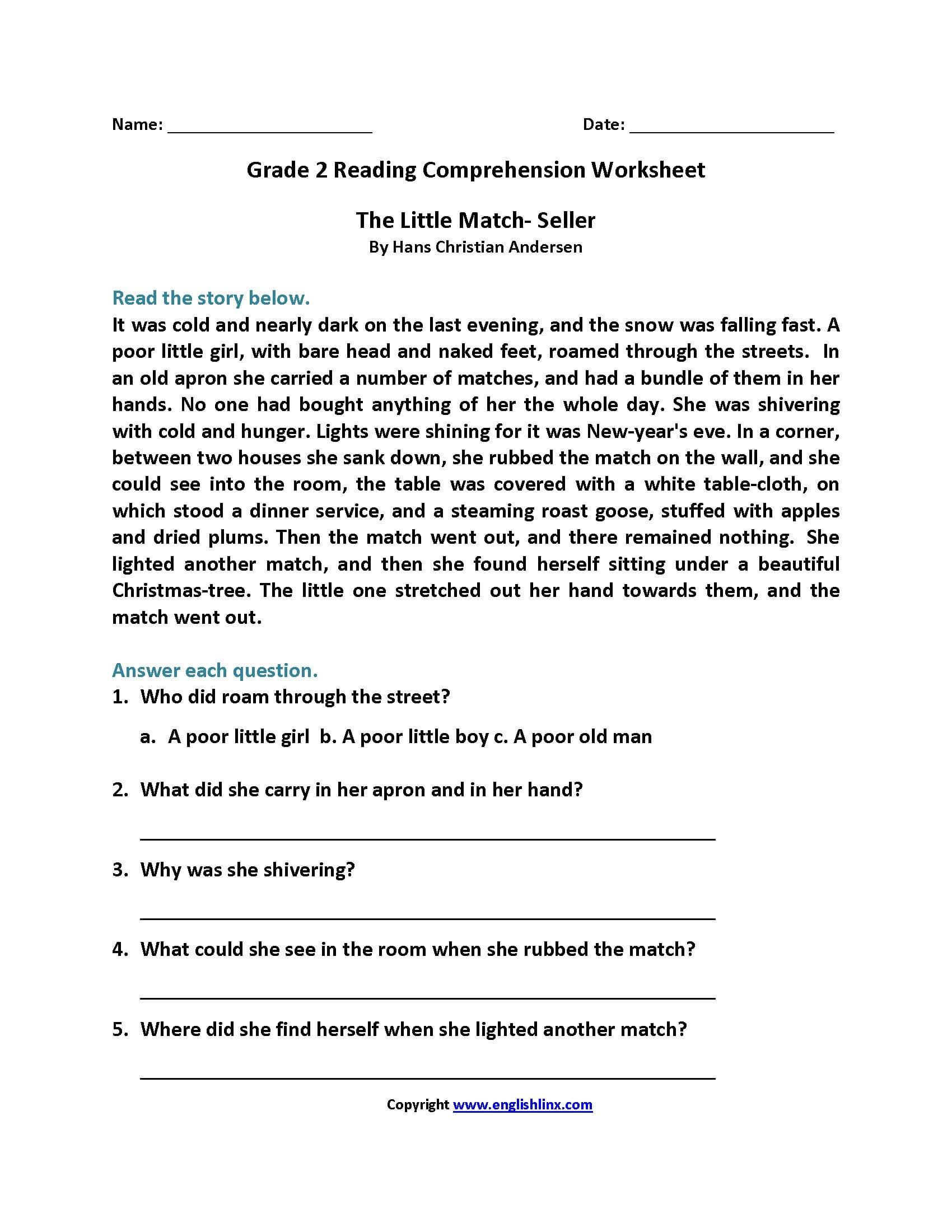 2Nd Grade Reading Comprehension Printables Together With Free Printable Second Grade Reading Comprehension Worksheets