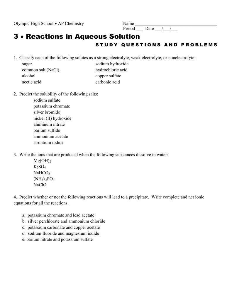 3 Reactions In Aqueous Solution  For Reactions In Aqueous Solutions Worksheet Answers