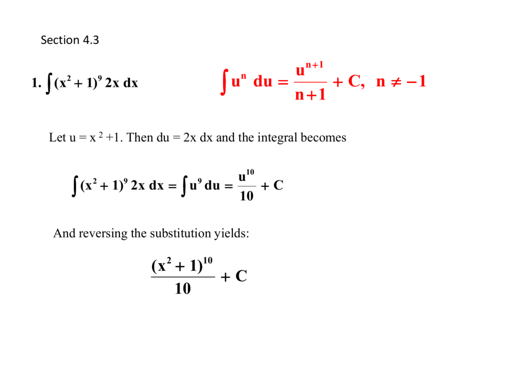 4 3 Integrationsubstitution Inside Integration By Substitution Worksheet
