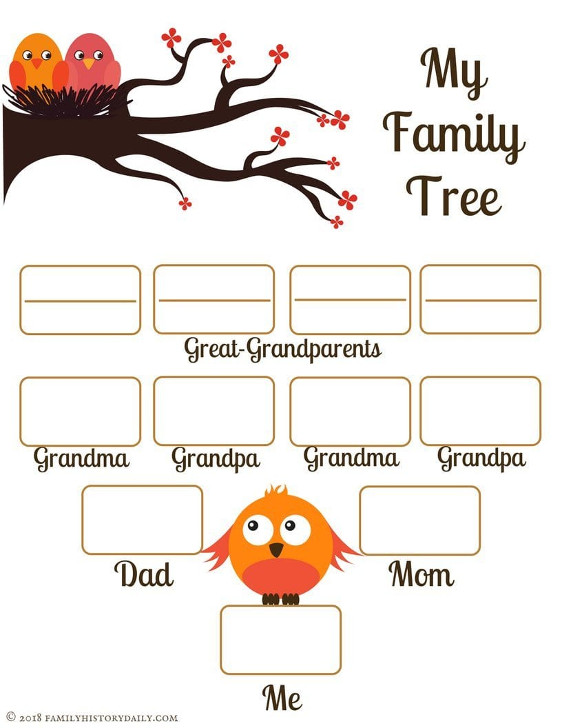 4 Free Family Tree Templates For Genealogy Craft Or School Projects As Well As Free Family Tree Worksheet