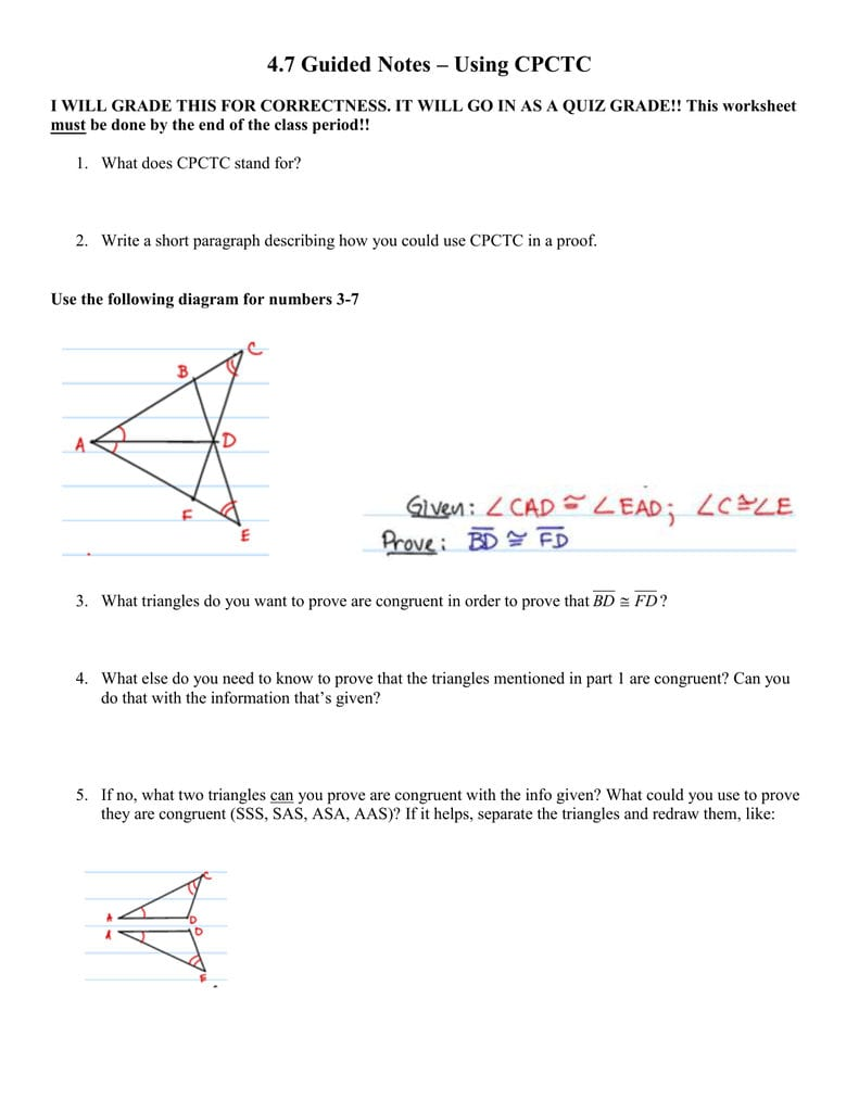 47 Guided Notes – Using Cpctc For Cpctc Proofs Worksheet With Answers