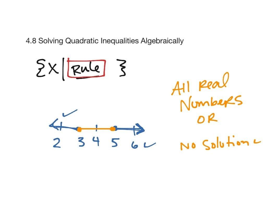 48 Solving Quadratic Inequalities Algebraically  Math Algebra 2 Also Solving Quadratic Inequalities Worksheet