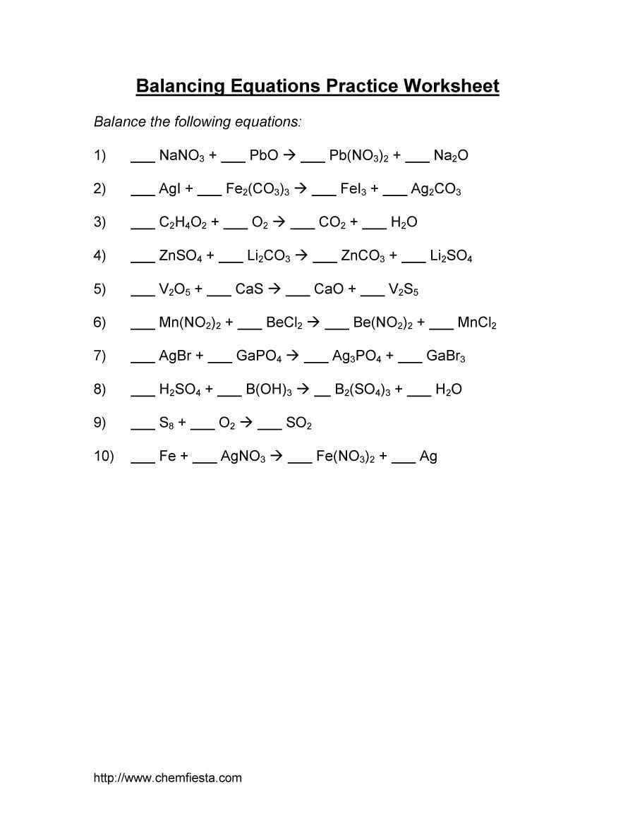 49 Balancing Chemical Equations Worksheets With Answers For Balancing Chemical Equations Worksheet With Answers Grade 10