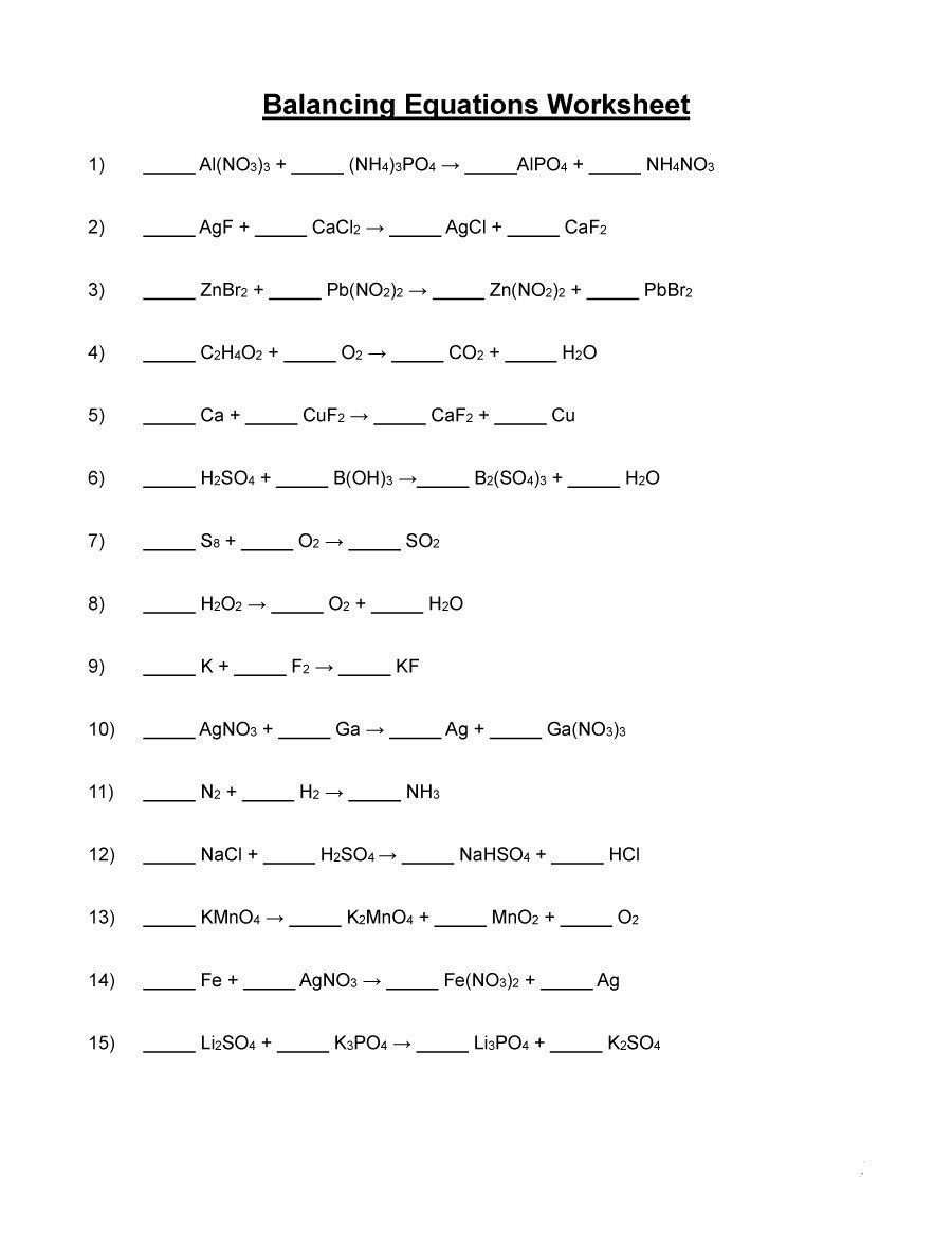 49 Balancing Chemical Equations Worksheets With Answers Throughout Balancing Equations Worksheet 1
