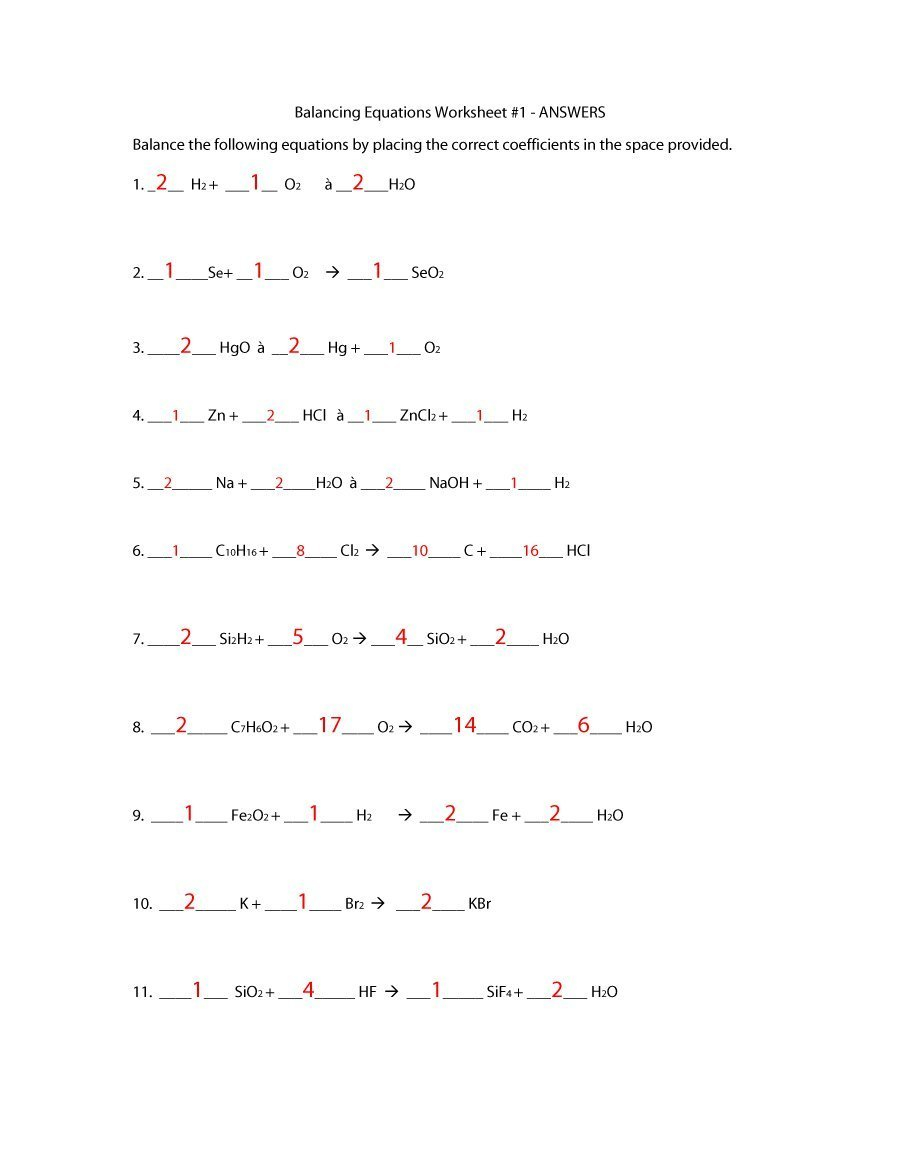 49 Balancing Chemical Equations Worksheets With Answers Within Balancing Equations Worksheet 1