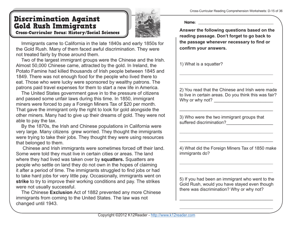 4Th Grade Reading Comprehension Worksheets And 4Th Grade Comprehension Worksheets