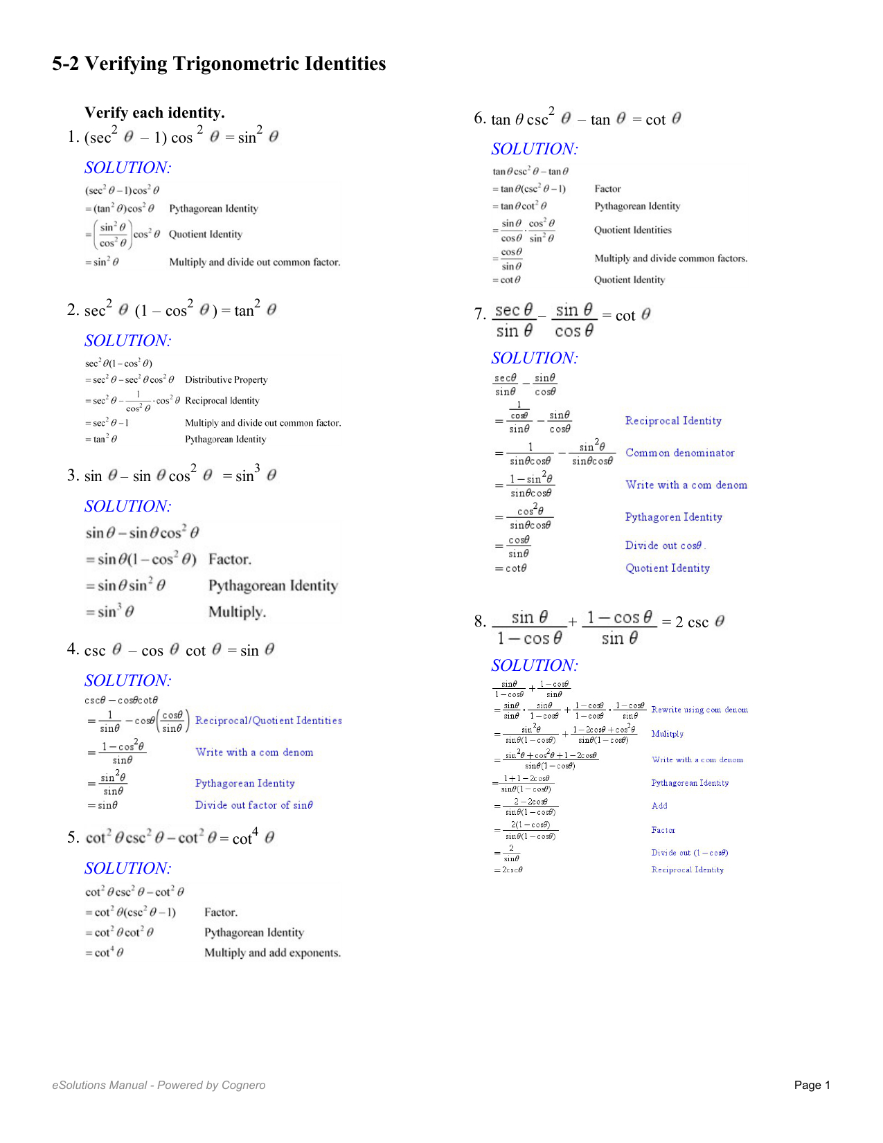 52 Verifying Trigonometric Identities As Well As Proving Trig Identities Worksheet