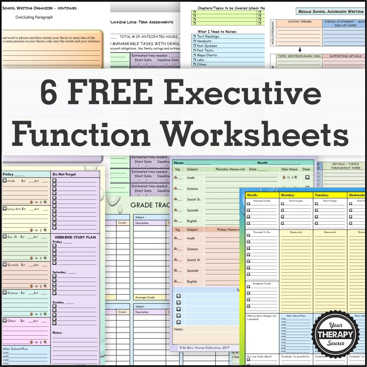 6 Free Executive Functioning Activity Worksheets  Your Therapy Source Within Executive Function Worksheets For Adults