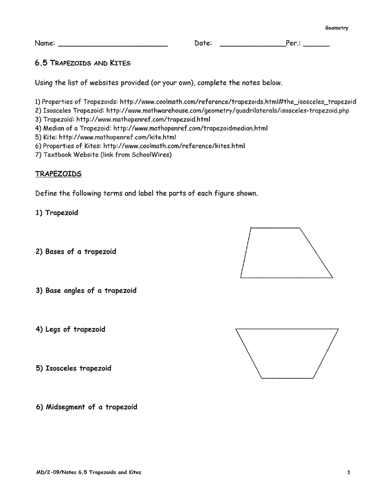 65 Trapezoids And Kites As Well As Kites And Trapezoids Worksheet Answers