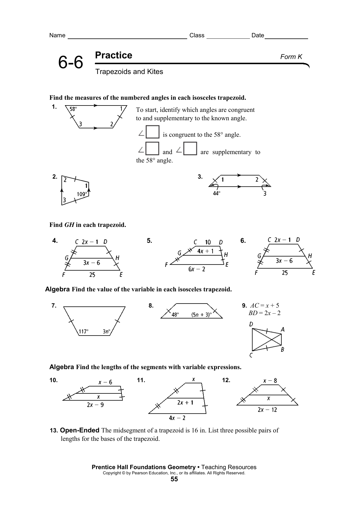 66 Practice Ws Along With Kites And Trapezoids Worksheet Answers