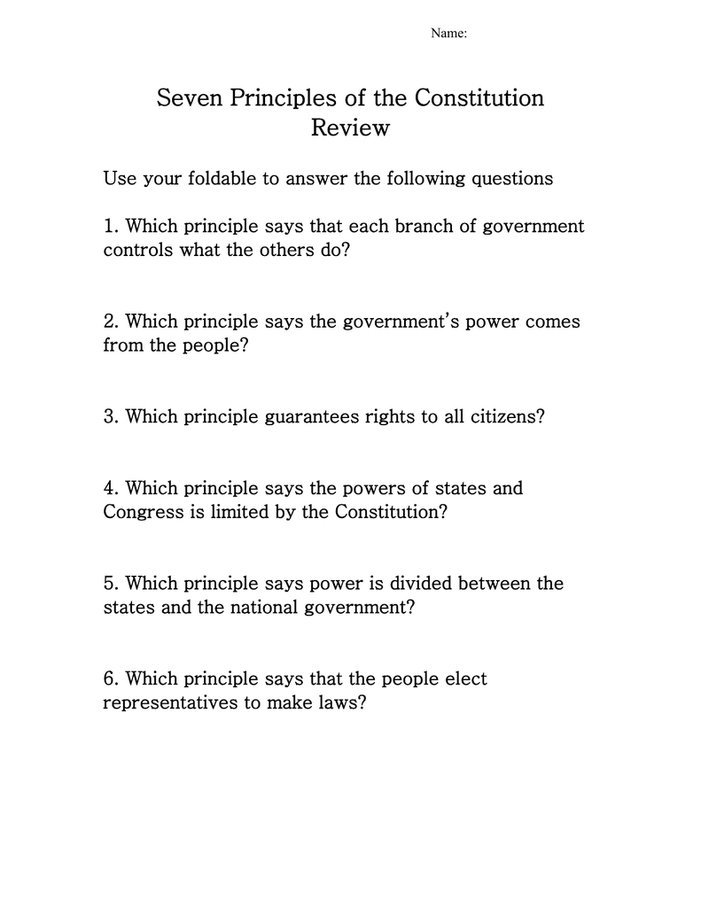 7 Principles Of The Constitution Review Ss09 And Seven Principles Of The Constitution Worksheet Answers