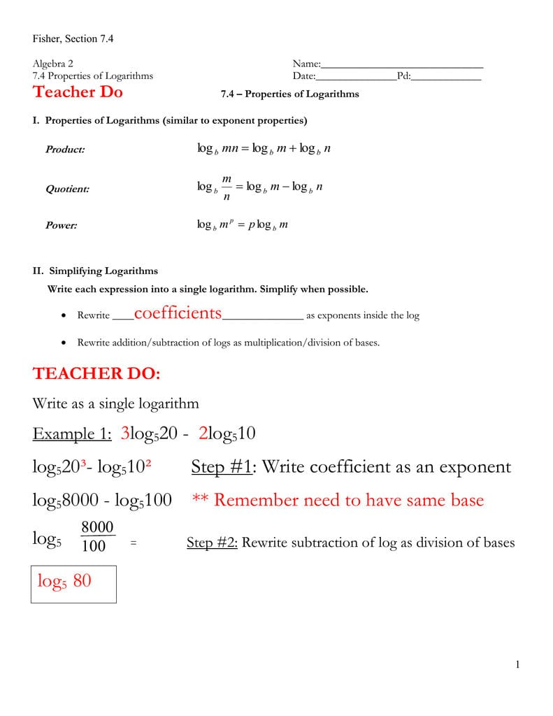 74 Notes Key With Properties Of Logarithms Worksheet