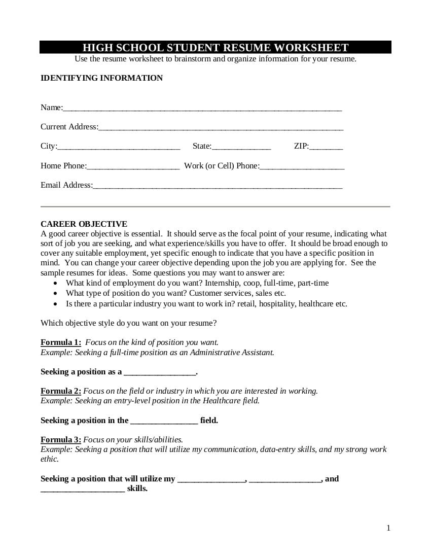9 Resume Worksheet Examples In Pdf  Examples Throughout Resume Worksheet For Middle School Students