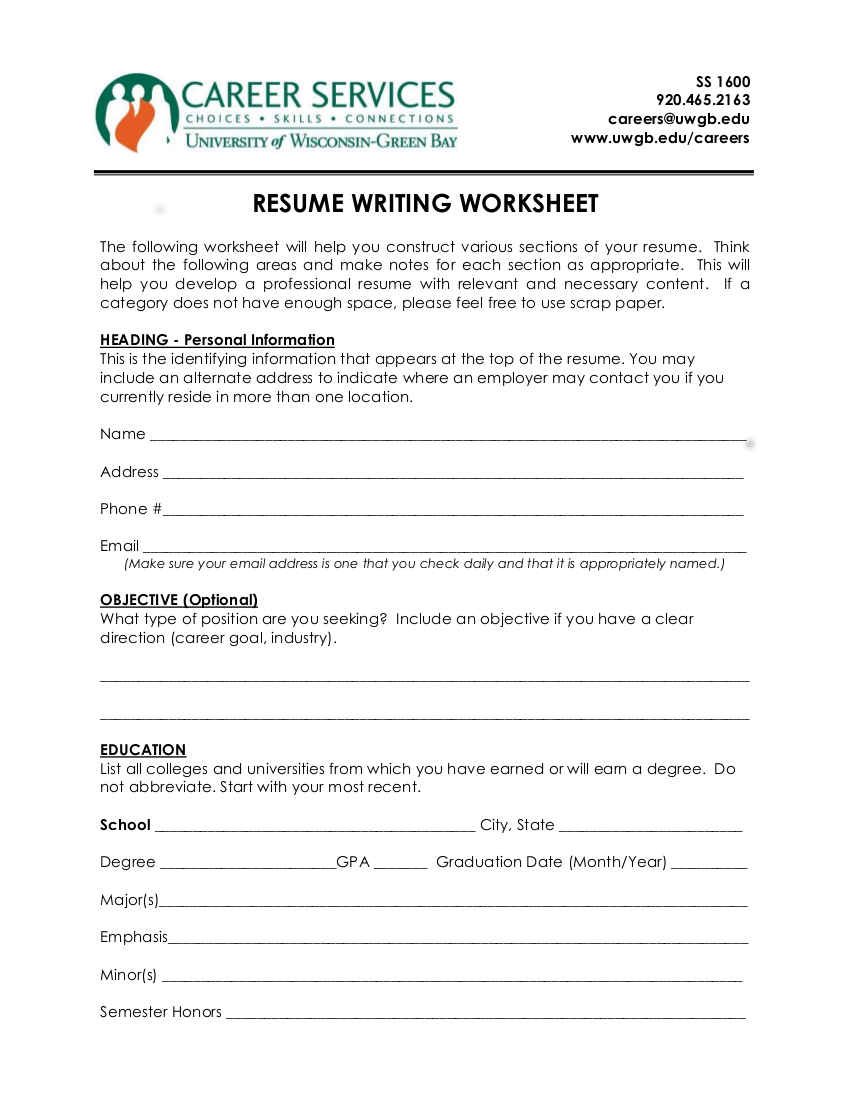 9 Resume Worksheet Examples In Pdf  Examples With Resume Worksheet For Adults