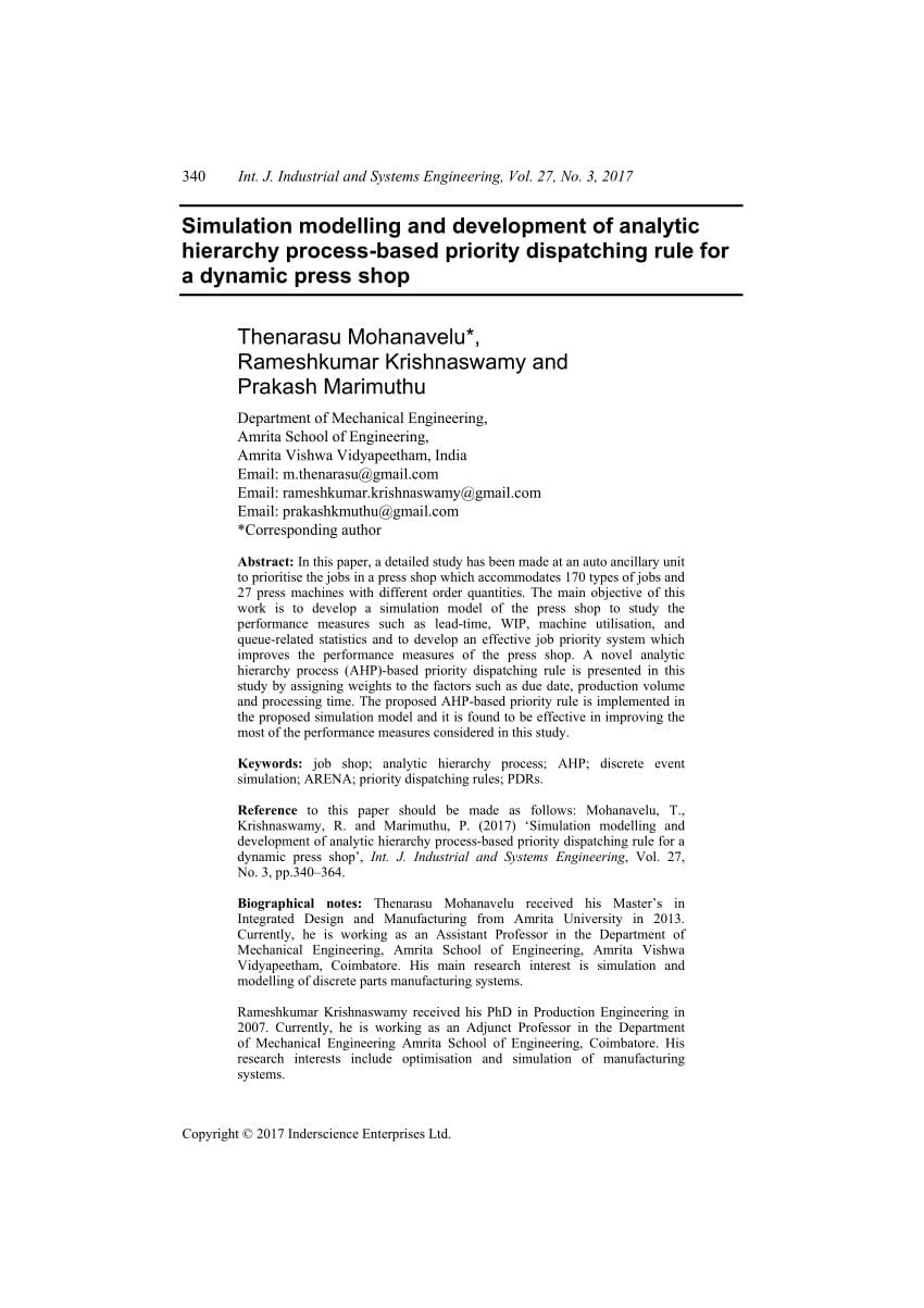 A Stateoftheart Survey Of Dispatching Rules For Manufacturing Job For Mechanical Advantage And Efficiency Worksheet