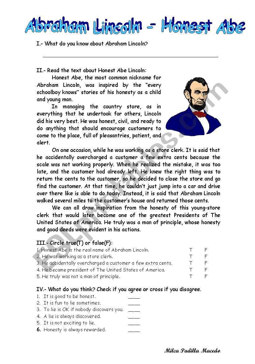 Abraham Lincoln Honest Abe  Esl Worksheet1000K With Abraham Lincoln Comprehension Worksheet