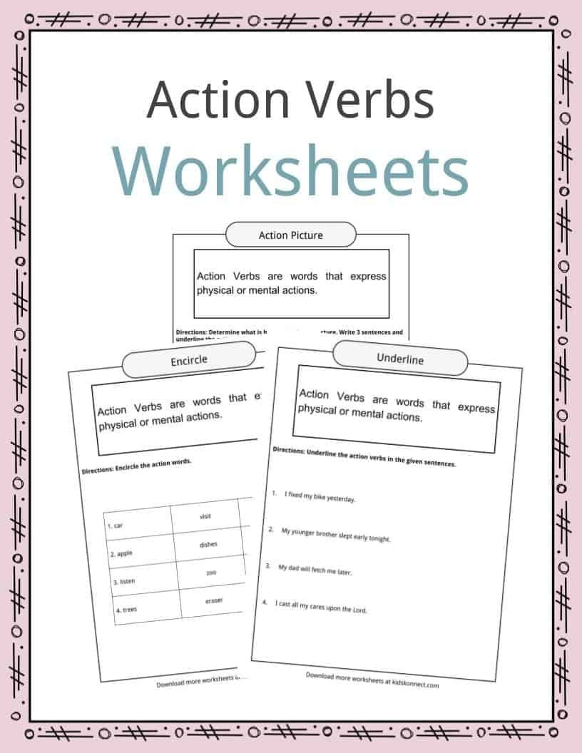 Action Verbs Worksheets Examples Sentences  Definition For Kids Within Noun Verb Sentences Worksheets