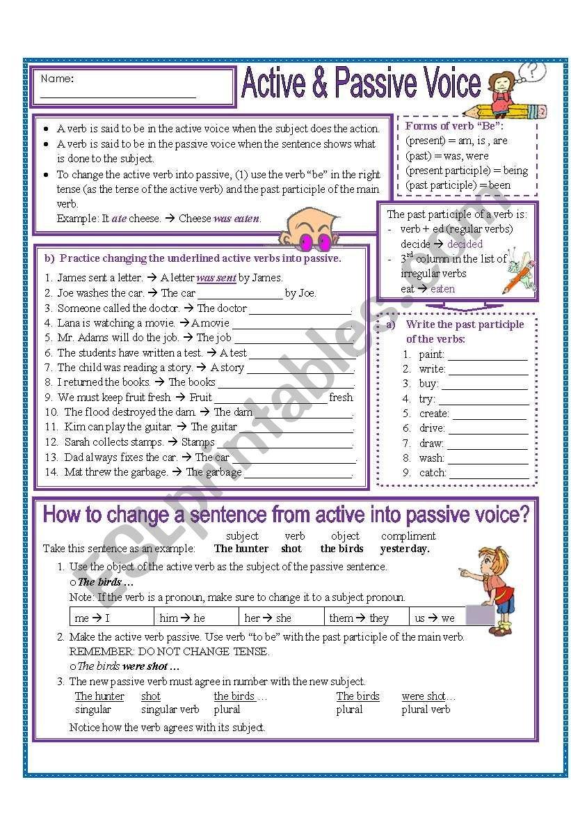 Active And Passive Voice  Esl Worksheetmissola Regarding Passive Voice Worksheets