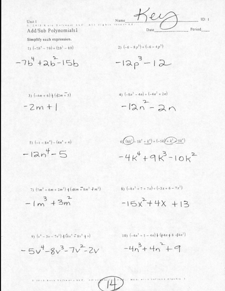 Adding And Subtracting Polynomials Worksheet Answers ...