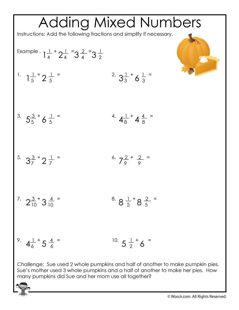 Adding Mixed Numbers Worksheet  Woo Jr Kids Activities In Adding Mixed Numbers Worksheet