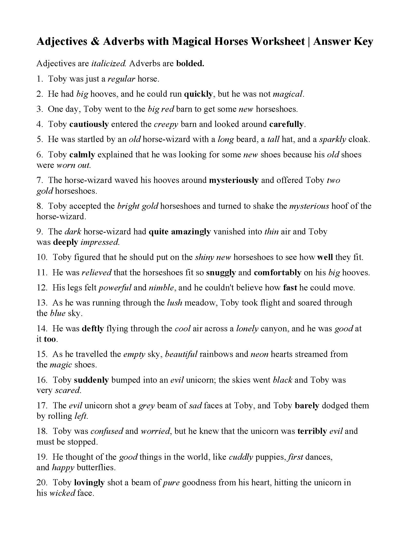 Adjectives And Adverbs With Magical Horses Worksheet  Answers Also Adjective And Adverb Worksheets With Answer Key
