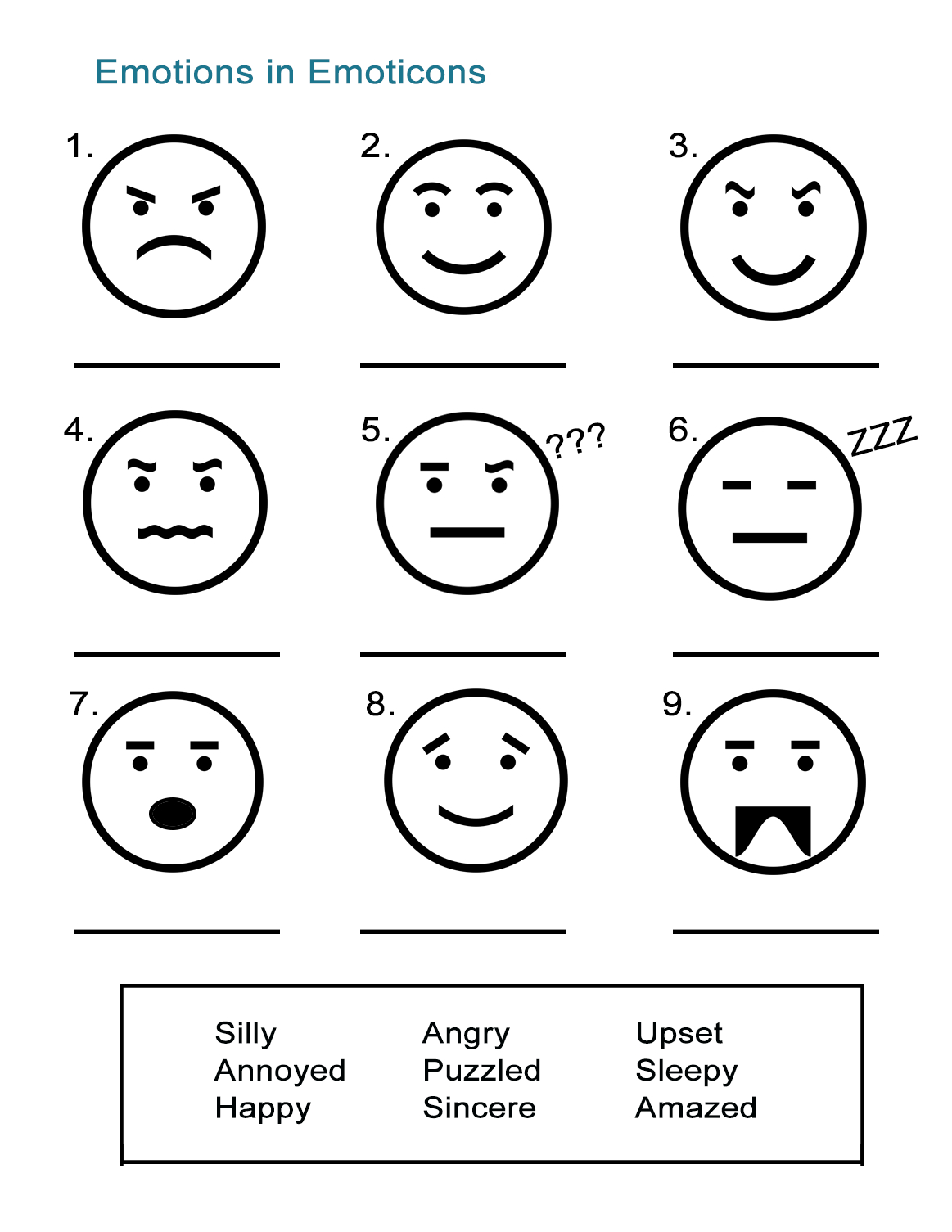 Adjectives To Describe Feelings Emoticon Emotions  All Esl For Feelings And Emotions Worksheets Printable