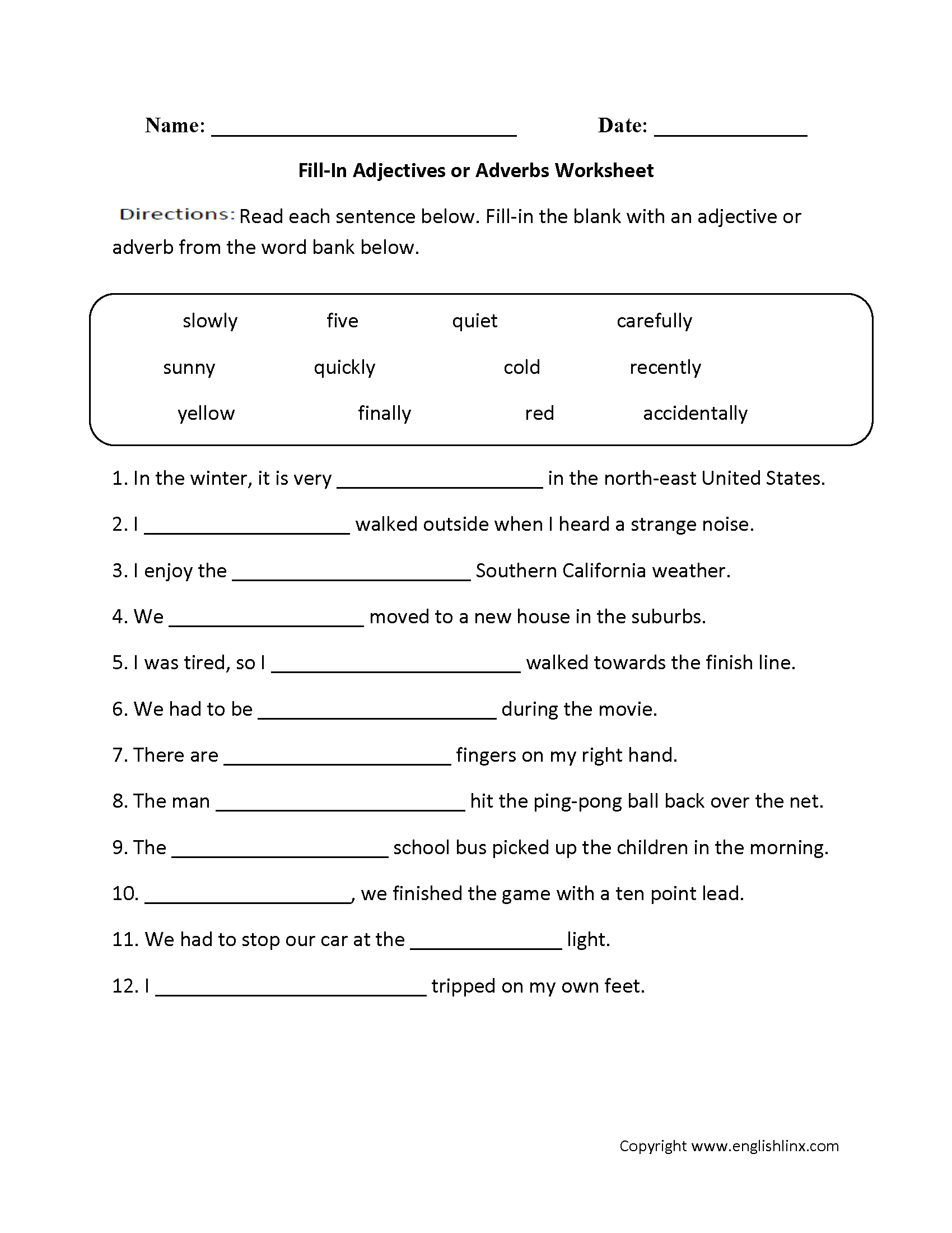 Adjectives Worksheets  Adjectives Or Adverbs Worksheets Regarding Adjective And Adverb Worksheets With Answer Key