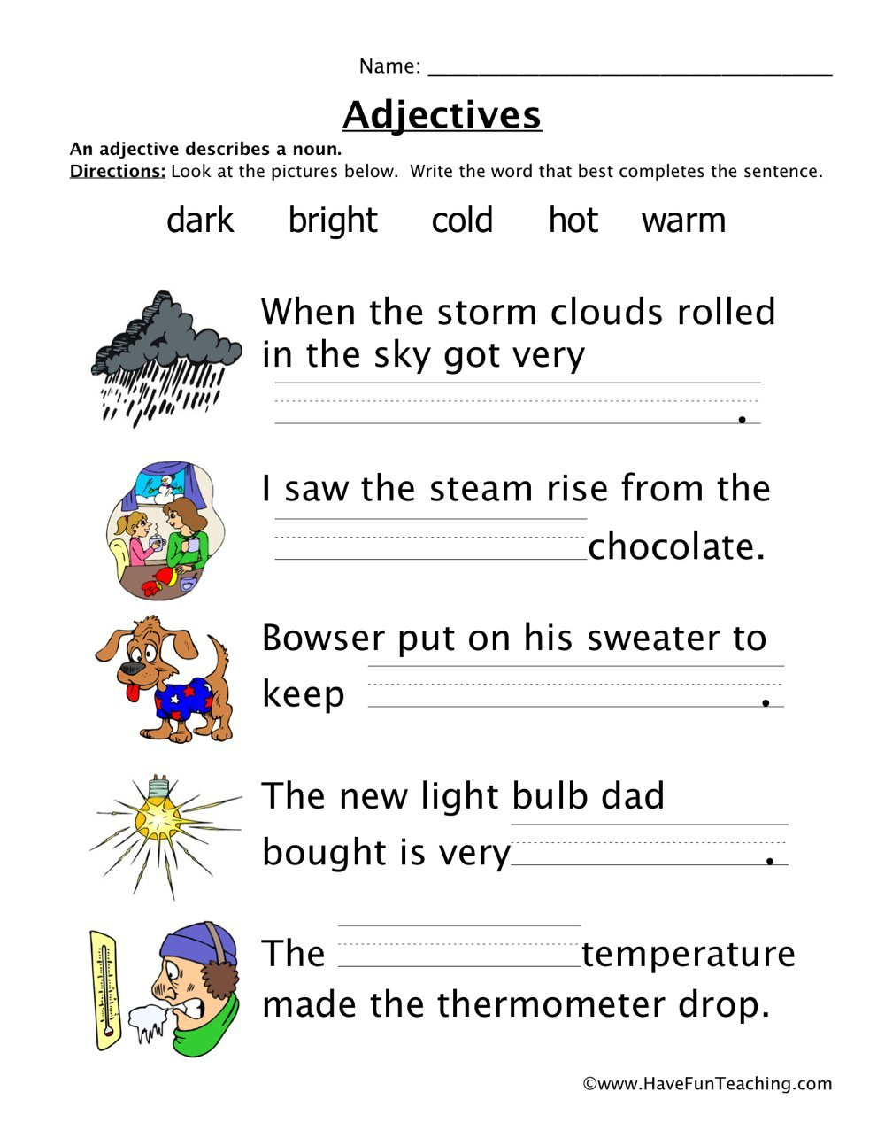 Adjectives Worksheets  Have Fun Teaching Also Adjectives Worksheets For Kindergarten